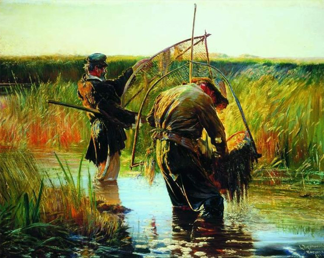 Wading fishermen. 1891, oil on canvas, 113 × 146 cm (44.5 × 57.5 in), National Museum in Warsaw (MNW)